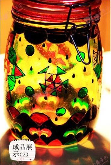 DIY手绘玻璃罐