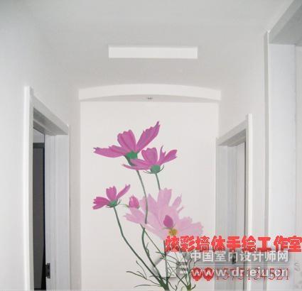 手绘墙花瓶