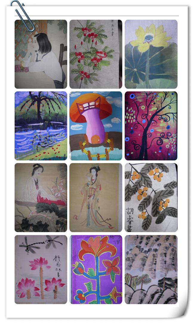 儿童画、水粉画、粘贴画、现描 素描(成人素描、高考素描)、书