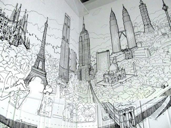 City Buildings Line Drawing In London