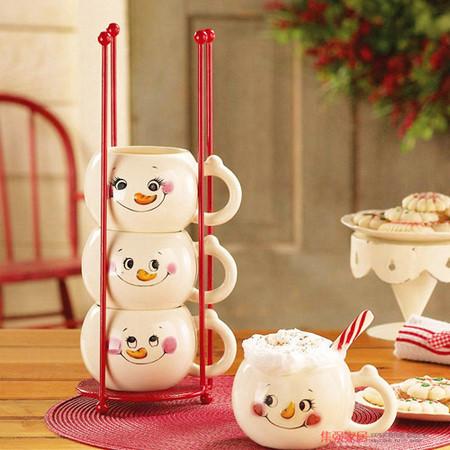 """""""雪人马克杯""""非常可爱的四张笑脸,看到它们,心情是否也会好很多呢?"""