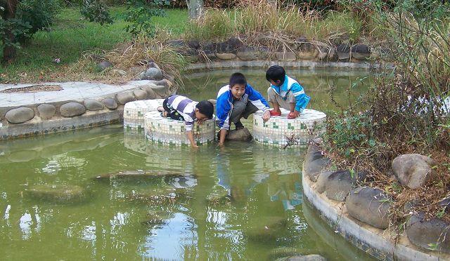 小孩子玩水