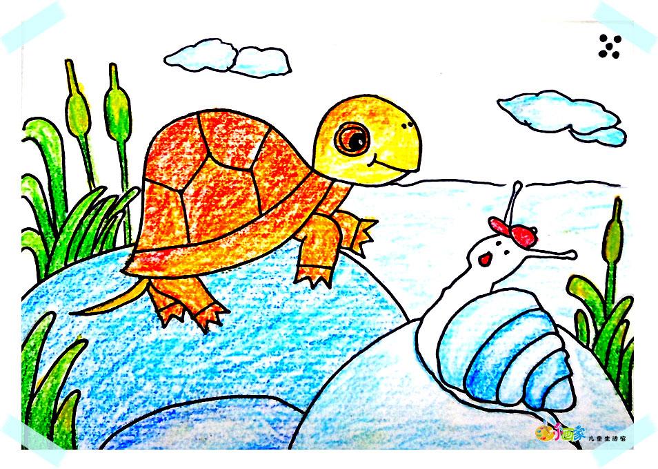 农夫与蛇的故事的儿童画