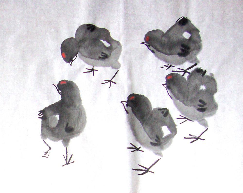 小鸡,麻雀和儿童画作品         小鸡和麻雀是最可爱的动物了.