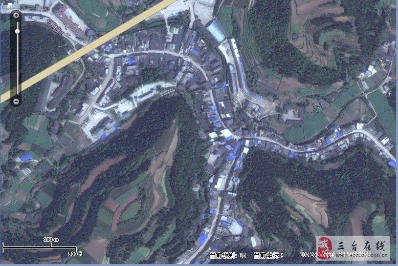最新三台县及秋林镇卫星地图图片