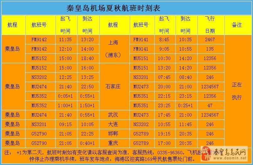 山海关飞机场航班信息【秦皇岛山海产机场航班信息】