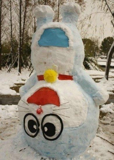 堆雪人,太有才了