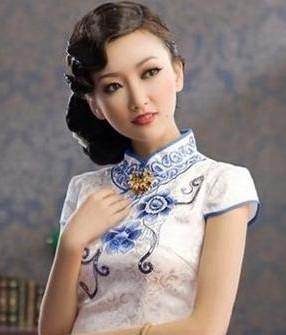 穿旗袍的发型1