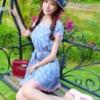 [原创]蓝色粉点收腰连衣裙 俏皮时尚田园风格