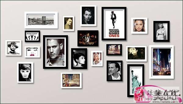 照片墙效果图 给客厅不一样的风景