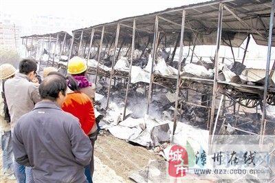 龙海一工地板房着火 烧光数十工人家当(图)