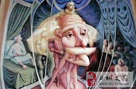 经典的画中画老人头像图片