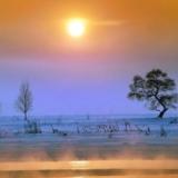 日出寒江,冬日里的大美风景
