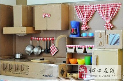 纸箱手工制作娃娃家大全图片