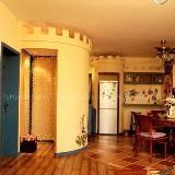 童话屋左岸设计可爱中户型餐厅实景图暖色吧台