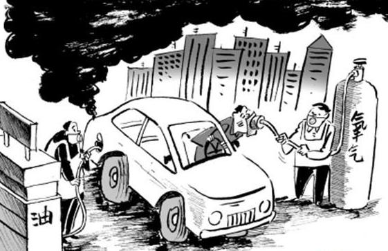 排气管滚滚喷出尾气   废气中含有150~200种不同的化合物,由于汽车废气的排放主要在0.3米~2米之间,正好是人体的呼吸范围,对人体的健康损害非常严重,其中对人危害最大的有一氧化碳、碳氢化合物、氮氧化合物、及固体悬浮颗粒物。现在,我们来具体分析一下:   固体悬浮颗粒:固体悬浮颗粒的成分很复杂,并具有较强的吸附能力,可以吸附各种金属粉尘、强致癌物苯并芘和病原微生物等。固体悬浮颗粒随呼吸进入人体肺部,以碰撞、扩散、沉积等方式滞留在呼吸道的不同部位,引起呼吸系统疾病。当悬浮颗粒积累到临界浓度时,便会激发形
