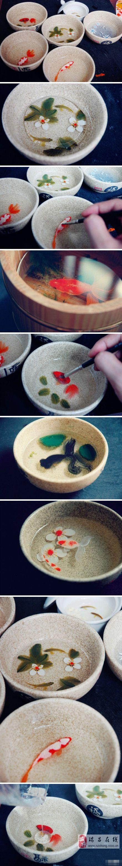 插画师曹强的手绘树脂立体画,每条鱼都栩栩如生,以假乱真