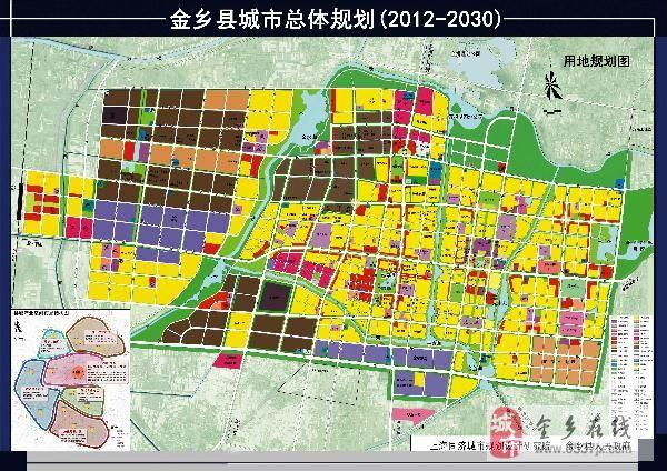 2012年,为了适应经济社会和城市发展需要,金乡县人民政府委托上海同济城市规划设计研究院在05版金乡县城市总体规划的基础上进行修编,经过专家评审、部门审查和县人大常委审查,以及公示程序之后,修改形成本次规划成果即《金乡县城市总体规划(2012-2030)》。 城市性质:中国蒜都,山东省新型工业化基地,鲁苏皖豫四省交界以商贸物流和文化旅游休闲为特色的生态宜居城市。 规划包括县域城镇体系规划与县城总体规划。县域范围包括2个街道办、11个镇共886平方公里。县城范围包括城市规划区和城区两个层面,其中城市规划区范