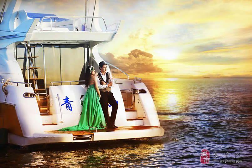 青岛婚纱摄影市值2600万双层豪华游艇海景基地主题拍摄