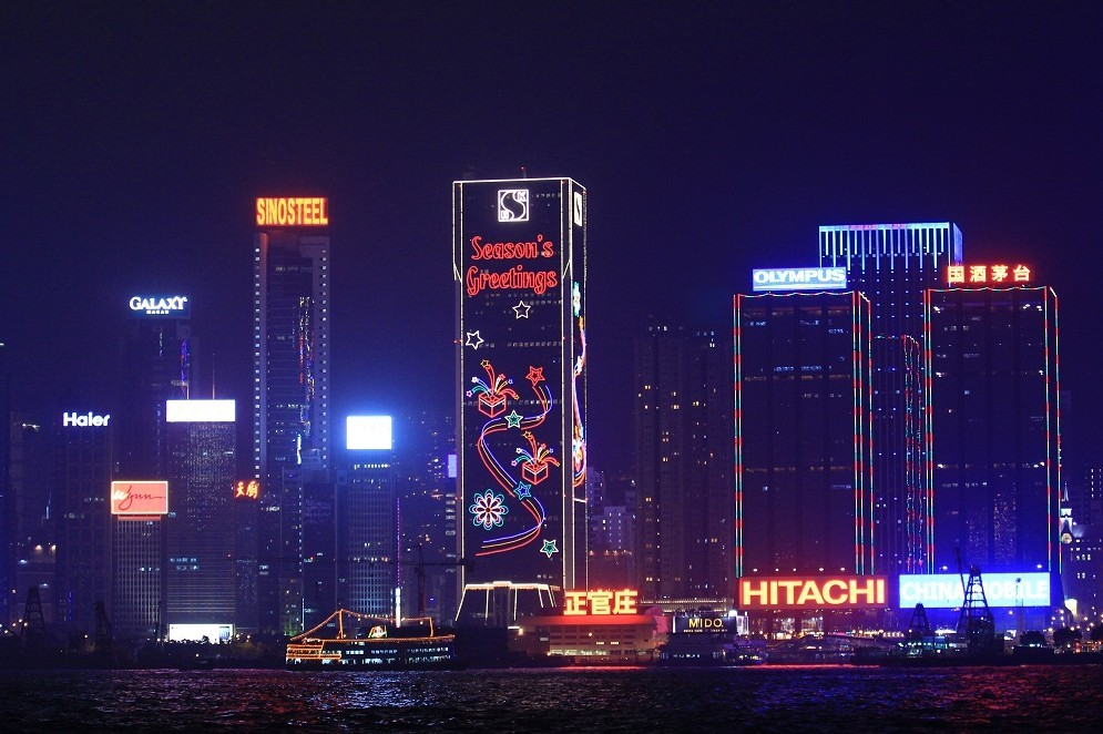 香港维多利亚港平安夜