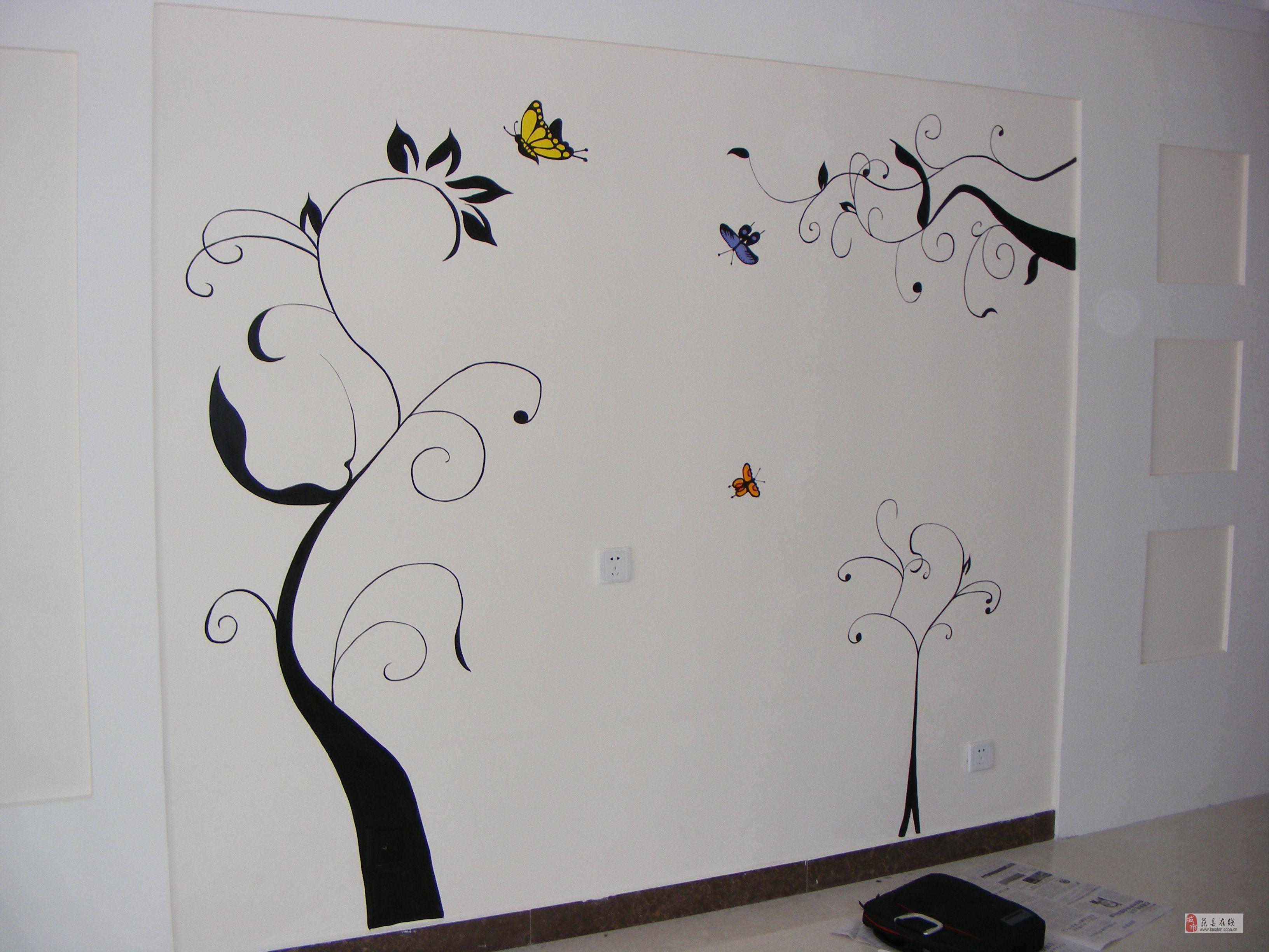 房子水墨素材墙绘