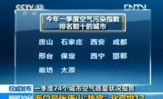 一季度全国空气质量报告唐山垫底石家庄倒数第二