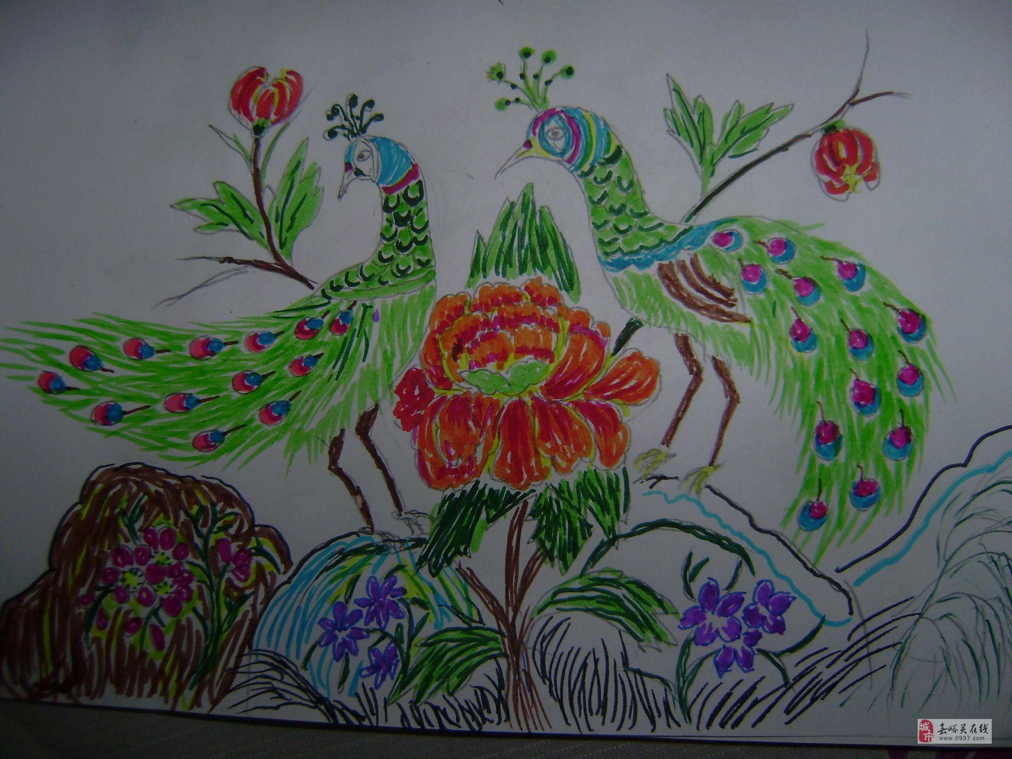 小孔雀开屏(树叶粘贴画) 树叶贴画