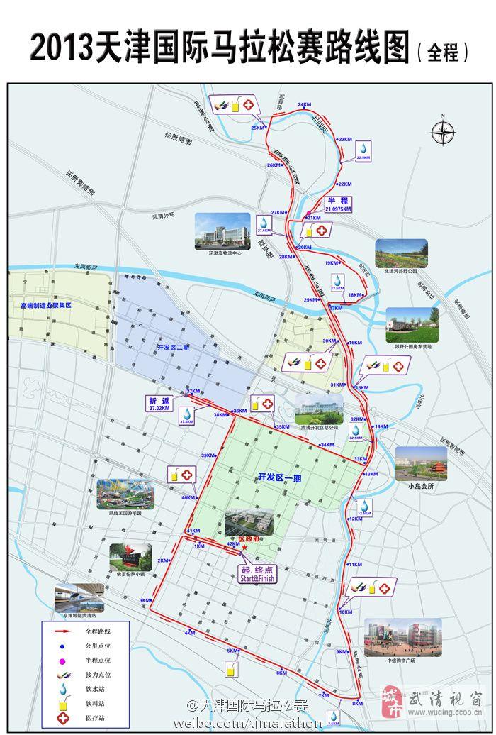 2013年武清国际马拉松线路图(全程,含公里点和补给站)