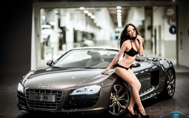 [分享]敞篷奥迪R8香车美女欣赏!