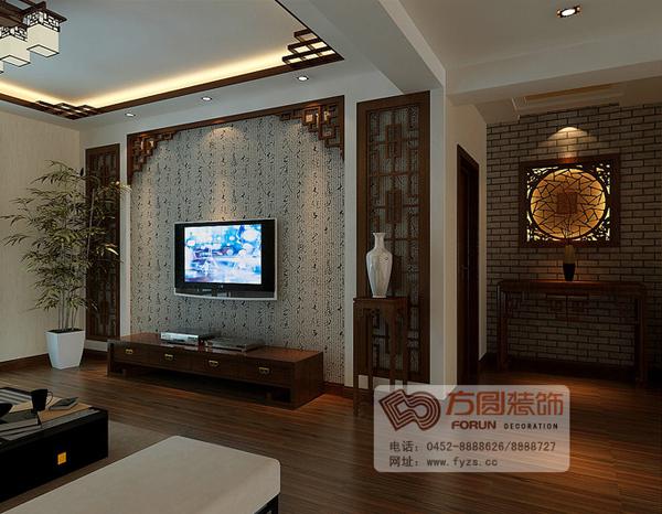 简约中式电视背景墙_中式风格电视背景墙效果图_家居街_齐齐哈尔在线