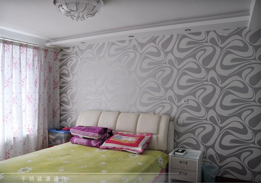 爱舍欧式简约墙纸 电视背景墙卧室植绒壁纸