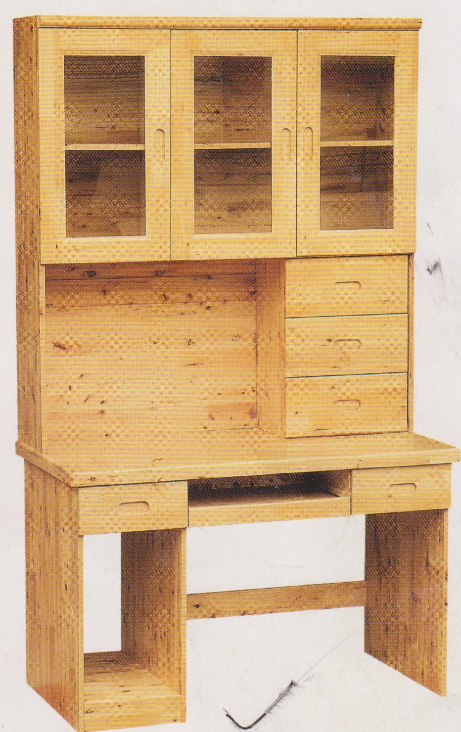 柏木书柜(带电脑桌)