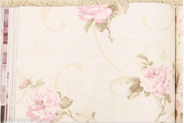 沃莱菲墙纸 欧式田园莨苕花 无纺布 客厅卧室电视墙壁纸
