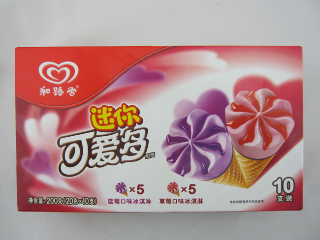和路雪 迷你可爱多(蓝莓-草莓口味)-建三江青岛雪糕
