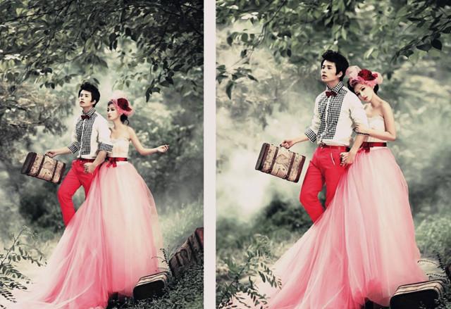 梦幻森林系婚纱照的极致之美