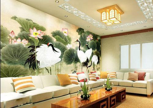 彩绘沙发背景墙_家居街