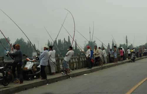 万福闸开闸放水 垂钓者影响交通,扬州热点,扬州
