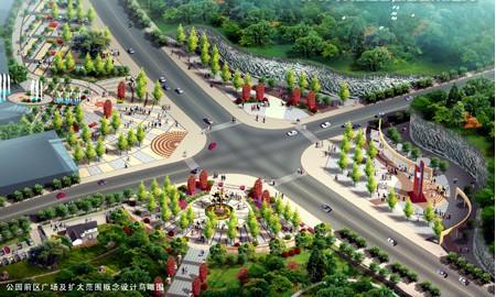 公园广场鸟瞰图手绘