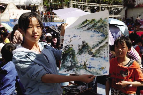昭通新闻网:巧家县举办2013年春节少儿书画大赛图片