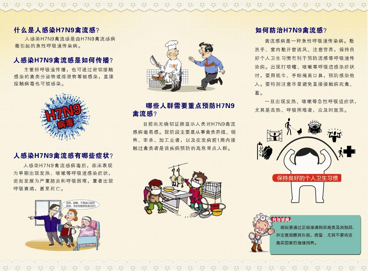 正确认识人感染H7N9禽流感科普文章 宣传图片图片