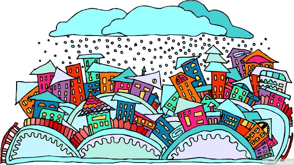 冬天风景简笔画彩色内容图片展示_冬天风景简笔画彩色图片下载