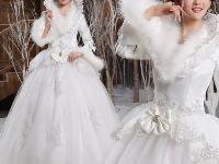 本人有冬季婚纱一件,皇冠头饰一套出租或出售。