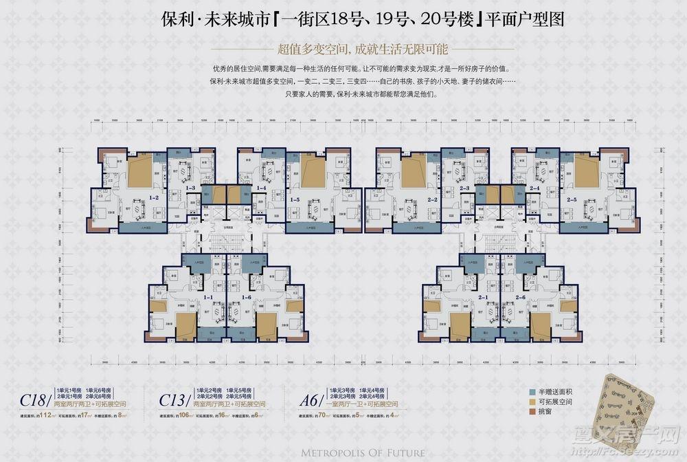 保利未来城市1区 18#、19#、20#楼层户型图