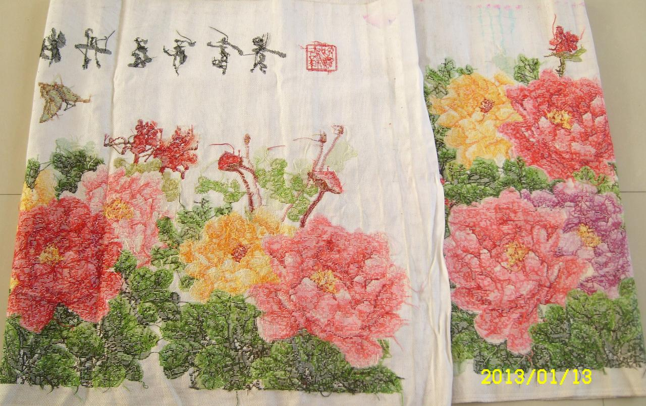 出售九尺手工国色牡丹花开富贵十字绣