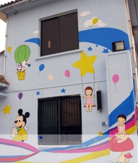 儿童房,学校墙画作品图片