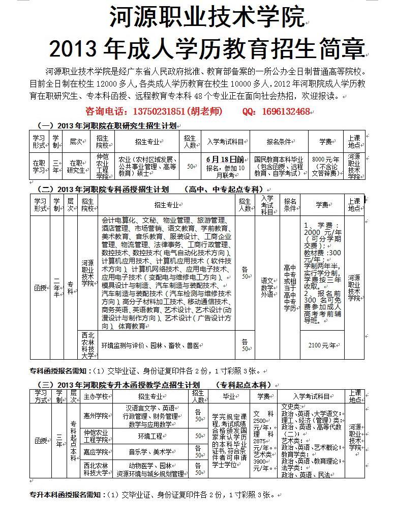 河职院2013年春季远程教育专本科报读截止通知