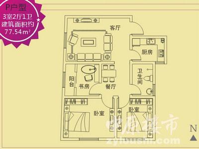 三室两厅一卫88.15㎡