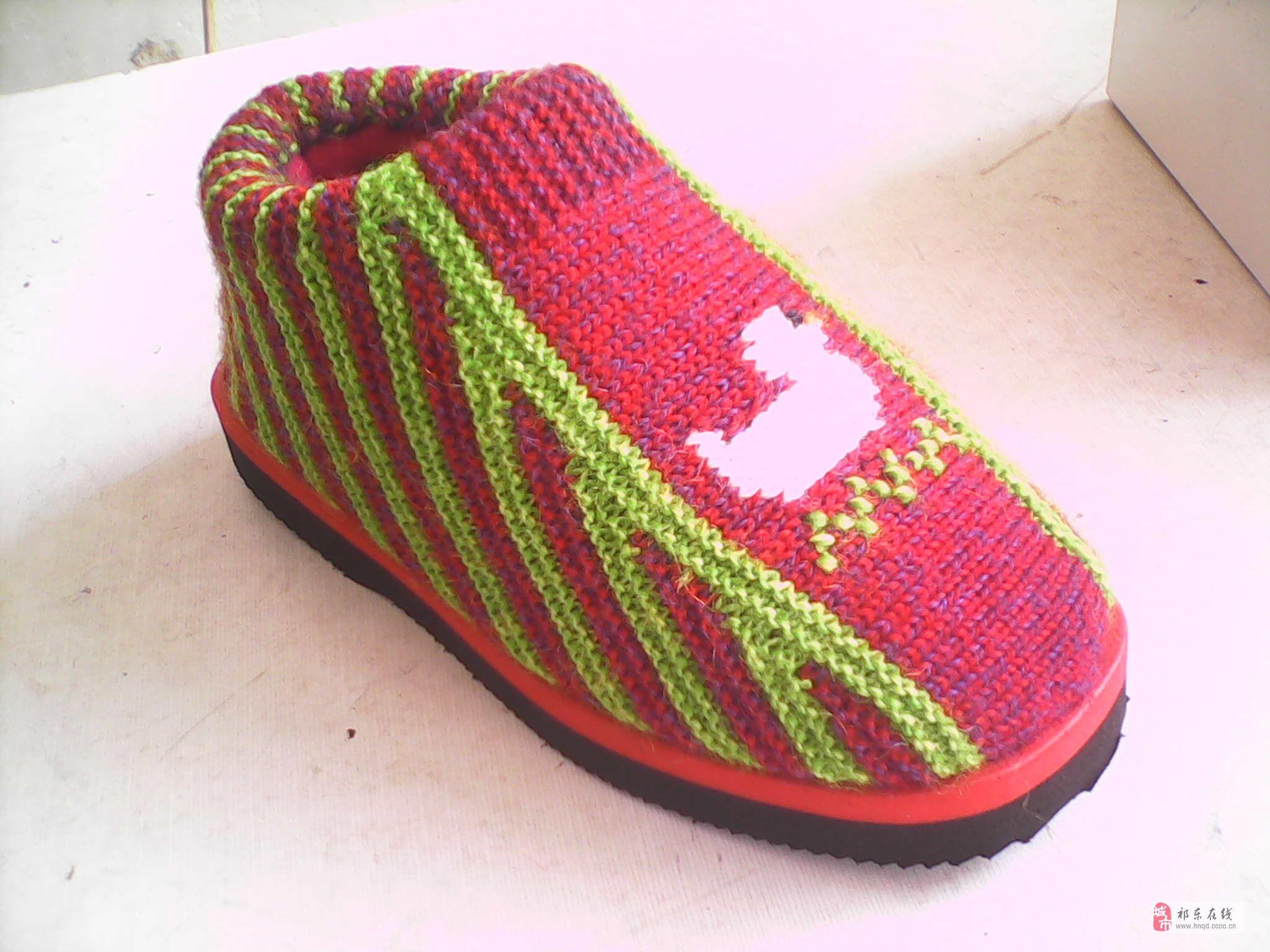 新型内置海棉内胆手工毛线棉鞋