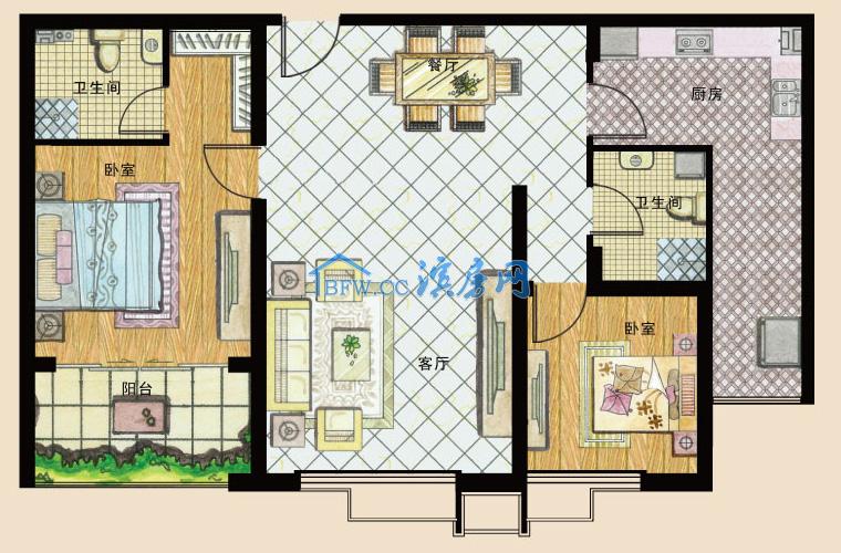 美信·海公馆黄金楼层2室2厅1卫79万元
