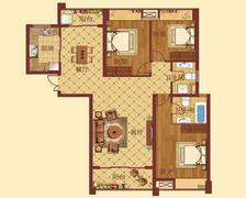 D-1户型,3室2厅2卫,139.00平米